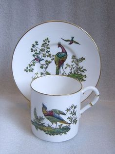 Antique ROYAL WORCESTER Multicolor PHEASANT COFFEE CAN DEMITASSE CUP SAUCER 1900 #RoyalWorcester