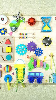Развивающие игрушки ручной работы. Бизиборд #54 - развивающая деревянная доска для детей, Москва. Бизикубики и Бизиборды by BusyKid. Ярмарка Мастеров. Baby Learning Activities, Activities For Boys, Montessori Activities, Infant Activities, Sensory Wall, Sensory Boards, Baby Sensory, Diy Busy Board, Busy Board Baby