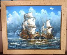 24-034-Oil-Painting-on-Canvas-Sea-Battle-Galleon-Ships-Nautical-Signed-J-Harvey