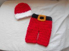 2 pc Christmas outfit hat and pant set newborn by DesignsbyKieshia, $16.00