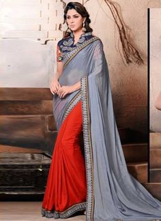 Stunning Grey And Red Satin Half And Half Patch Border Work  Casual Sarees http://www.angelnx.com/Sarees