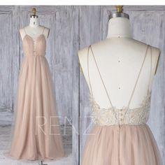 Bridesmaid Dress Pale Khaki Lace-up Spaghetti Strap Tulle Wedding Dress,Illusion Lace Open Back Long Prom Dress, A Line Evening Dress(LS331)