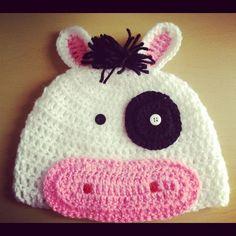 Angelas Crafts: Crochet cow hat - Gorro crochet de vaca
