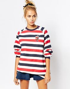 Lazy Oaf Oversized Sweatshirt In Sailor Stripe With Cola Icon
