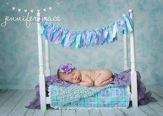 Newborn Baby Photography Prop Wooden Bed Set Purple by KingsCloth, $94.50