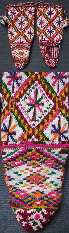 Traditional women's socks from Macedonia or Kosovo. Hand-knitted, wool and metallic thread, 1950-1975. Probably from ethnic (Muslim) Albanians or Gorani/Torbeshi. Gorani are a Slavic Muslim ethnic group inhabiting the Gora region - the triangle between Kosovo, Albania, and the Republic of Macedonia. Torbeshi are Macedonian Muslims. (Inv.nr. çor069 - Kavak Costume Collection-Antwerpen/Belgium).