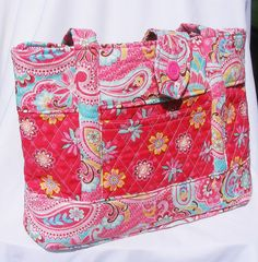 Bright Pink Flower Printed Quilted Fabric by FindUrHappyPlace, $40.00