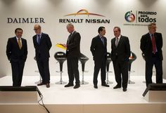 Photo: APRepresentatives of Daimler, Renault-Nissan, Infiniti, and the Mexican government, arrive for a joint press conference in Mexico City, Friday, June 27, 2014. From left are Mexico's Secretary of the Economy Ildefonso Guajardo Villarreal;...