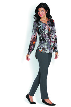 Washed Satin Button Front Tunic & Classic Ponte Ankle Pant
