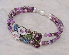 BRACELET Fairy Blossom Purple and Bronze Crystal Memory Wire with Magnetic Clasp -Handmade Jewelry, Crafts and Unique Gifts by Pinx & Lulas Memory Wire Jewelry, Memory Wire Bracelets, Handmade Bracelets, Jewelry Bracelets, Memory Wire Rings, Diy Schmuck, Schmuck Design, Bracelet Fil, Homemade Jewelry