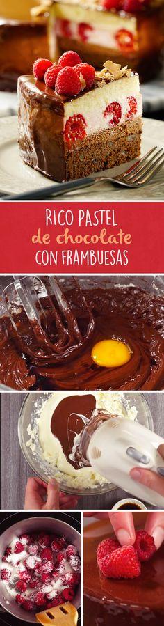 No hay mejor pastel de cumpleaños que este pastel de chocolate relleno de frambuesas. Es un pastel con efecto espejo y relleno cremoso que sabrá delicioso como un postre frío al final de la comida
