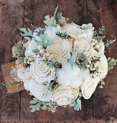 cream colored fabric wedding bouquet