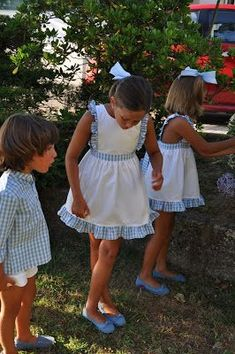 Gingham and white Little Girl Dresses, Girls Dresses, Flower Girl Dresses, Summer Dresses, Girly Outfits, Kids Outfits, Stylish Kids, Baby Sewing, Dress Patterns