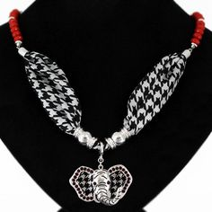 """Houndstooth scarf necklace with red wooden bead with silver tone chain and 1"""" x 2"""" elephant charm. Necklace 20"""""""