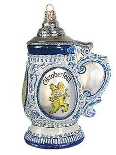 Oktoberfest Beer Stein Polish Blown Glass Octoberfest Ornament Tree Decoration: