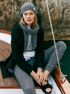 madewell sweater pants worn with the checkpoint sweater, double-breasted sweater-jacket, sweater scarf, softest ribbed beanie + birkenstock® arizona sandals in black shearling.