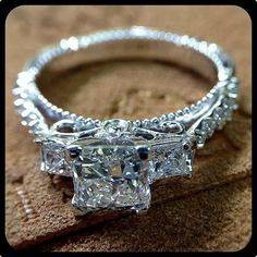 Wow! I think i would die  Verragio 3 stone diamond engagement ring square cut with diamond encrusted band