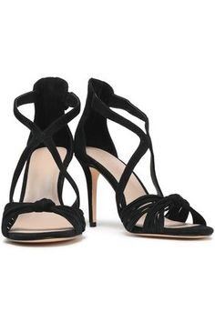 SANDRO SANDRO WOMAN ELISA KNOTTED SUEDE SANDALS BLACK. #sandro #shoes Suede Sandals, Suede Heels, Black Sandals, Stiletto Heels, Toe Shape, Sandro, Open Toe, Zipper, Taps