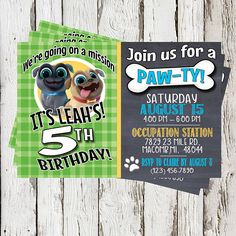 Items similar to Puppy Dog Pals Invitation, Puppy Dog Pals Invite, Printable, Puppy Dog Pals Birthday Party, Favor Tags on Etsy Puppy Birthday Parties, Puppy Party, Dog Birthday, Birthday Party Themes, Baby Party, Bingo, Second Birthday Ideas, Twins 1st Birthdays, Animal Party