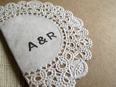 Oh So Beautiful Paper: Raechel + Alex's Crafty Doily and Kraft Paper Wedding Invitations