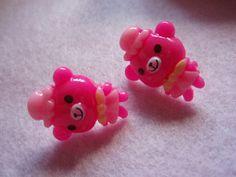 Hot Pink Hat Bear Stud Earrings by zefora on Etsy, $7.00