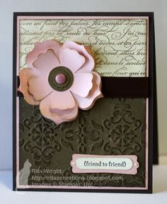 gorgeous SU card by Rita Wright - I like the use of tone on tone over tje embossed piece