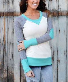 This Mint & White Color Block Sweater is perfect! #zulilyfinds