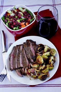 Grilled Balsamic Flank Steak with Roasted Brussels Sprouts with Bacon ...