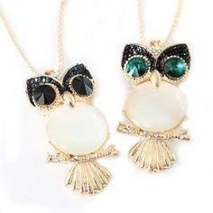 Exquisite Golden Owl Necklace with Rhinestone Eyes