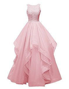 Dresstells® Long Prom Dress Asymmetric Bridesmaid Dress Beaded Organza Gown