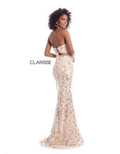 This Clarisse 8017 black nude long party dress is crafted in sequin lace over a solid lining, with a strapless sweetheart neckline and a laced-up cutout back. A tonal beaded waistband accents this fitted prom gown, ending in a brush train. Trumpet Dress, Strapless Sweetheart Neckline, Printed Gowns, Prom Dresses, Formal Dresses, Fitted Bodice, Fit And Flare, Leggings Are Not Pants, Party Dress