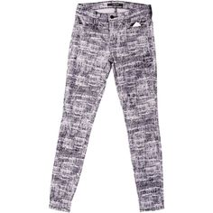 Pre-owned J Brand Skinny Jeans (£45) ❤ liked on Polyvore featuring jeans, grey, skinny fit jeans, velvet jeans, grey jeans, patterned jeans and patterned skinny jeans