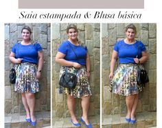 Patterned skirt + blouse = casual look #psootd #fatshion #plussize #ootd #fashion