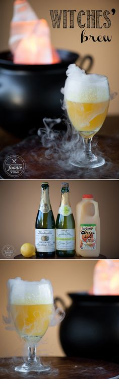 This sweet and sparkling Witches' Brew made with fruit juice is a fun Halloween…