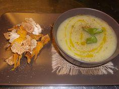 crema di patate e chips di verdure