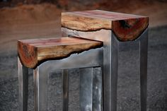 Nice handmade tables, fusing wood and aluminum...