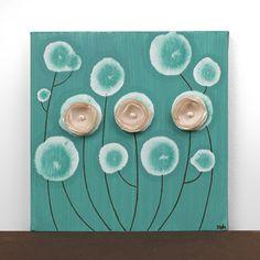 Оригинальное оформление цветочных живописи - квадрат на холсте - хаки и бирюзовый домашнего декора - небольшие 10х10