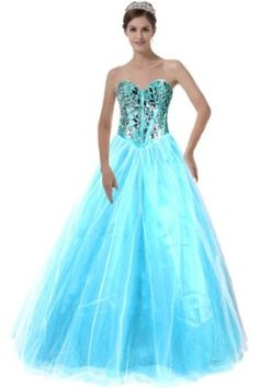 Faironly Long-xs1 Turquoise Prom Formal Ball Dress, Crystal Stones:Price: $125.00
