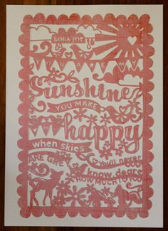 Papercutting: You are My Sunshine