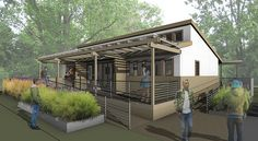 Exterior drawing of the front entry for the Team Alabama house for Solar Decathlon 2017.