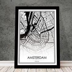 Ο χάρτης του πιο αγαπημένου προορισμού στην Ευρώπη σε ασπρόμαυρη απόδοση με περιγραφή, σε poster που θα αναβαθμίσει τη διακόσμηση σας. #cityposter #mapposter #Amsterdamposter #πόλητουλΆμστερνταμ #Amsterdammap