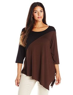 Fashion Bug Womens Plus-Size 3/4 Sleeve Color Block Tunic www.fashionbug.us #plussize #FashionBug