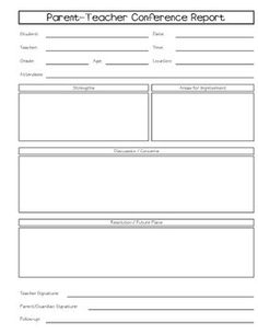 Fall Parent Teacher Conference Form - social, emotional and ...
