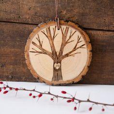 Custom wood slice ornament . Personalized wood burned heart & initials on tree