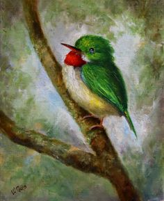 Items similar to San Pedrito bird painting, Puerto Rico Tody, green bird on Etsy Puerto Rico, Bird Art, Contemporary Paintings, Art Gallery, My Etsy Shop, Birds, San, Drawings, Artwork