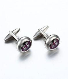 Men's Round Purple Stainless Steel Cuff links