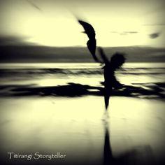 Impressionist dancer on the beach at sunset, Piha, Auckland New Zealand.