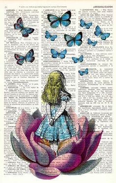 Alice in wonderland Alice in Prrintland Looking for a pink butterfly