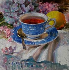Tea Cup Art, Oil Painting Techniques, High Art, Blue China, New Artists, Fine Art Gallery, Still Life, Teacups, Blossoms