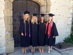 Natalie Hahn, Ashley Basten, Alex Guido and Kelsey Menden get ready for graduation day.